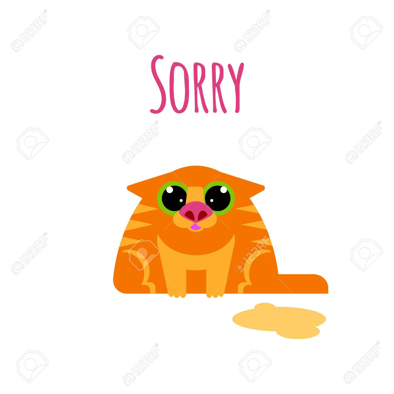 sorry card with cat isolated on white background royalty free