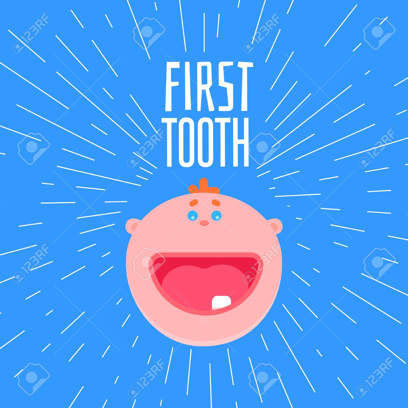 Adorable 6 months old baby laughing first tooth greetings card adorable 6 months old baby laughing first tooth greetings card with typography and baby flat m4hsunfo