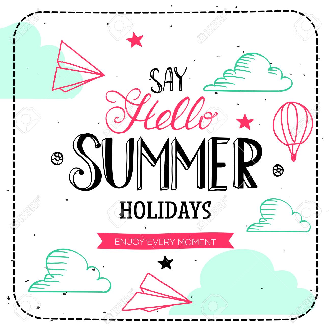 Say Hello summer holidays typography. Vector lettering and cute illustration card. Hand drawn quote design. - 56821426
