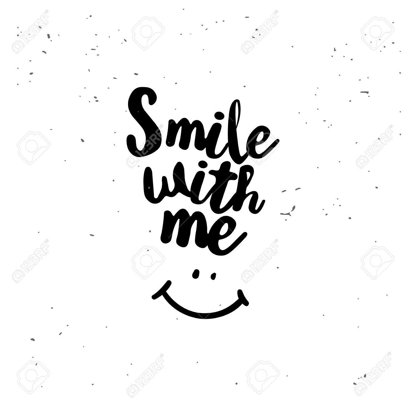 sourie avec moi. citation inspirée noir isolé sur fond blanc. vector