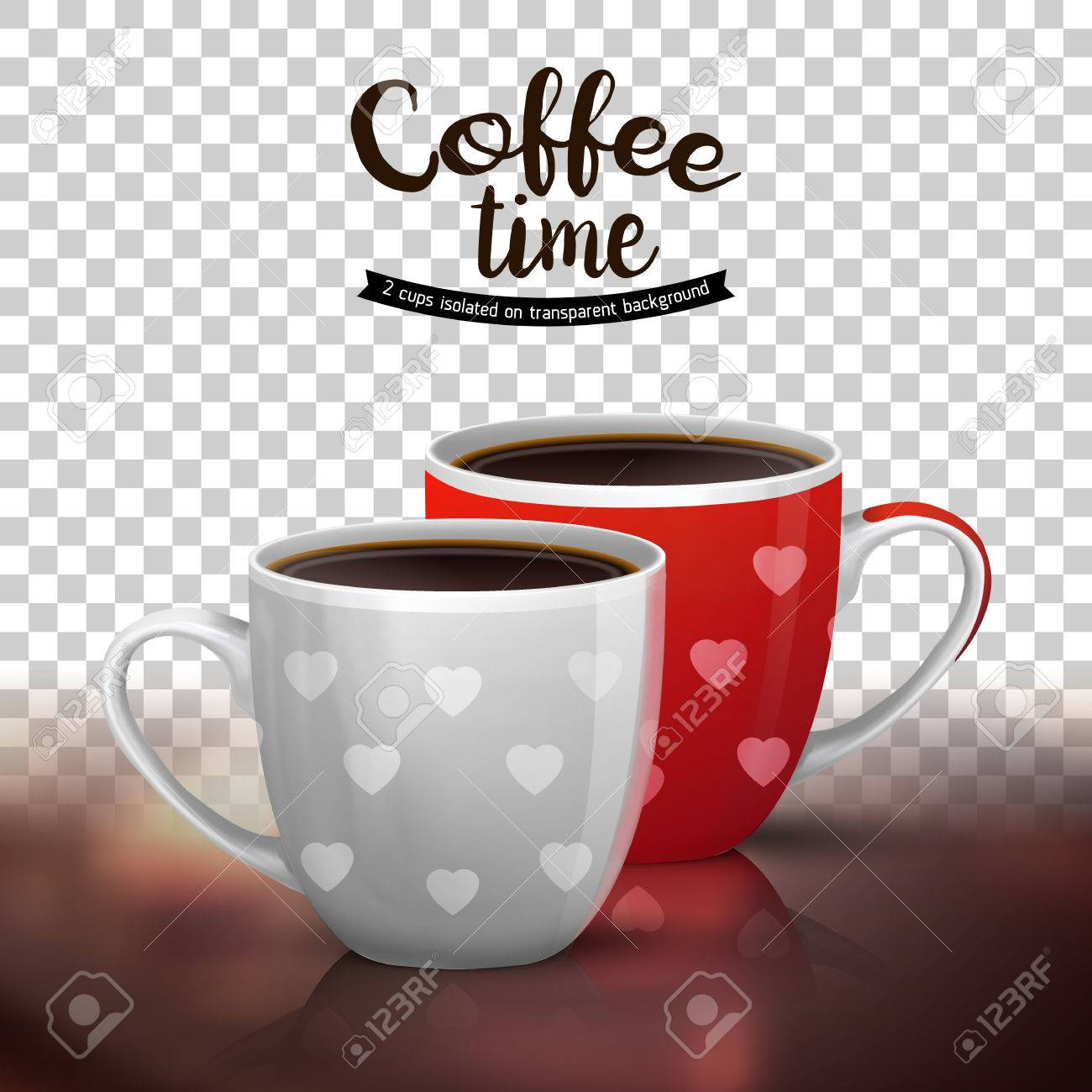 Coffee cup transparent - Classic Americano In Two Ceramic Cups Isolated On Transparent Background Illustration Of Coffee Drinks