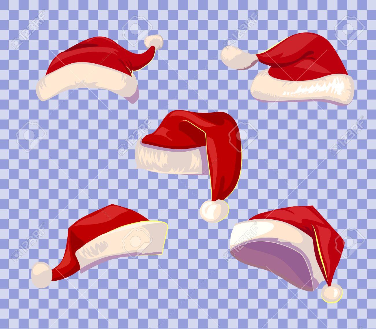 Cartoone style Santa hats set on transparent background. - 64241096