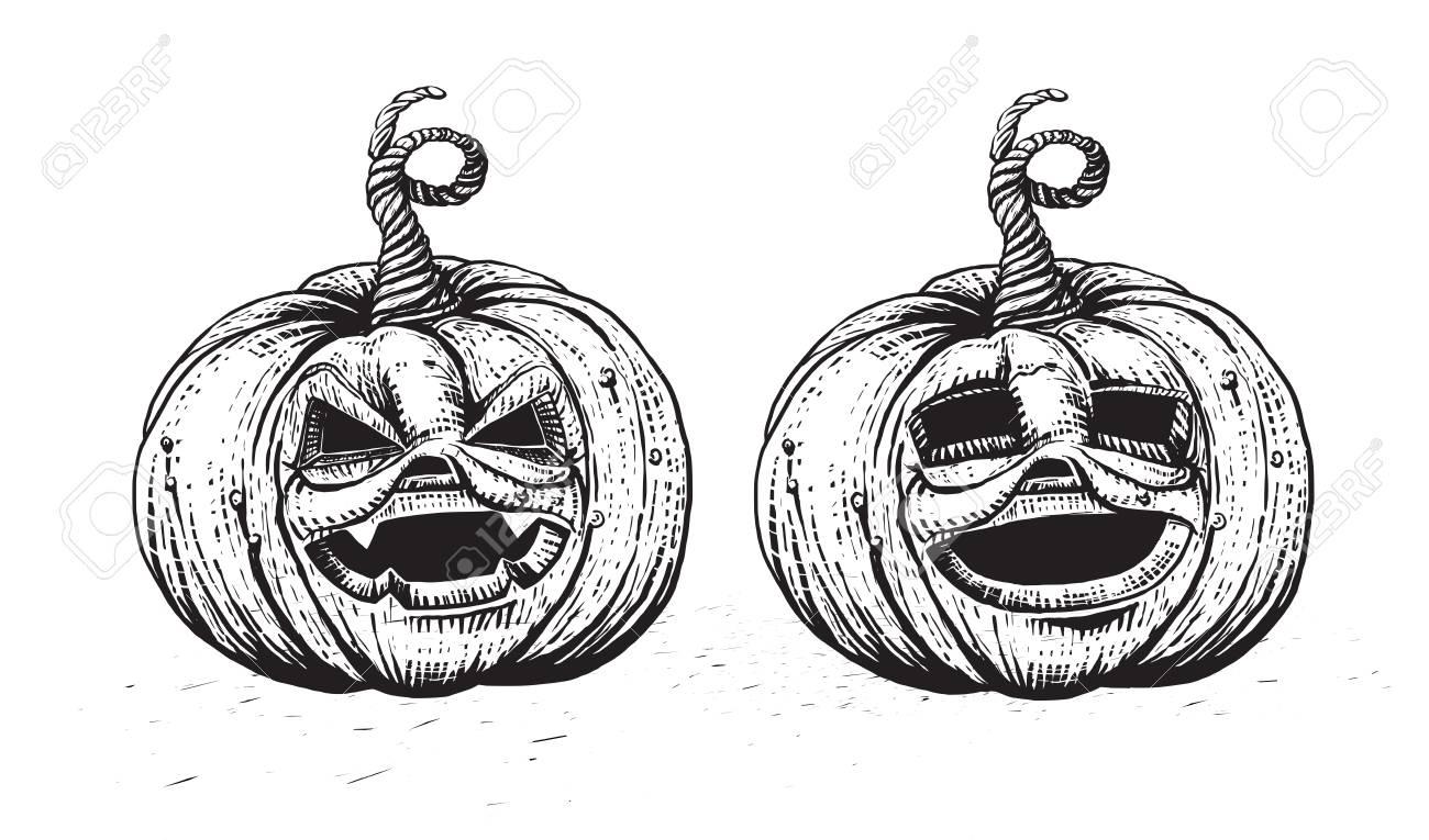 Halloween Pumpkin. Engraved Jack Character Illustration. Skecth ...