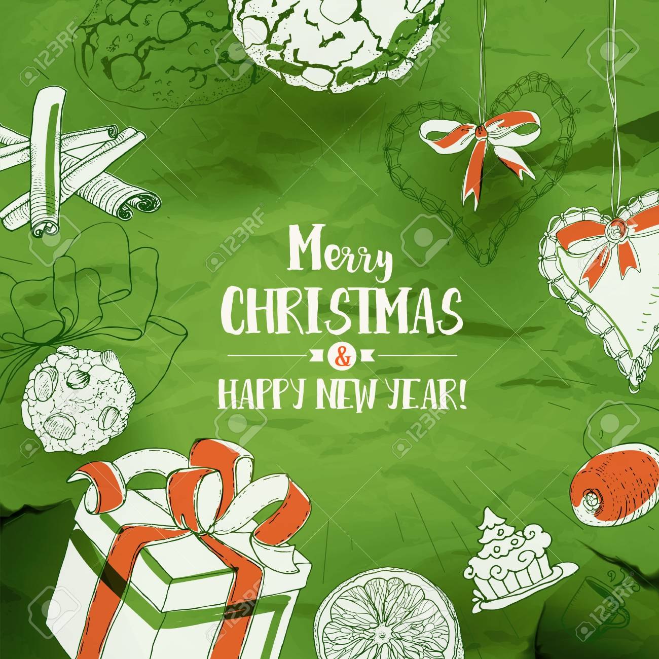Christmas Card With Sketches And Typography Greetings On Green