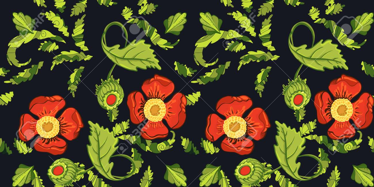Elegance Seamless Red Color Flowers Pattern On Black Background ...