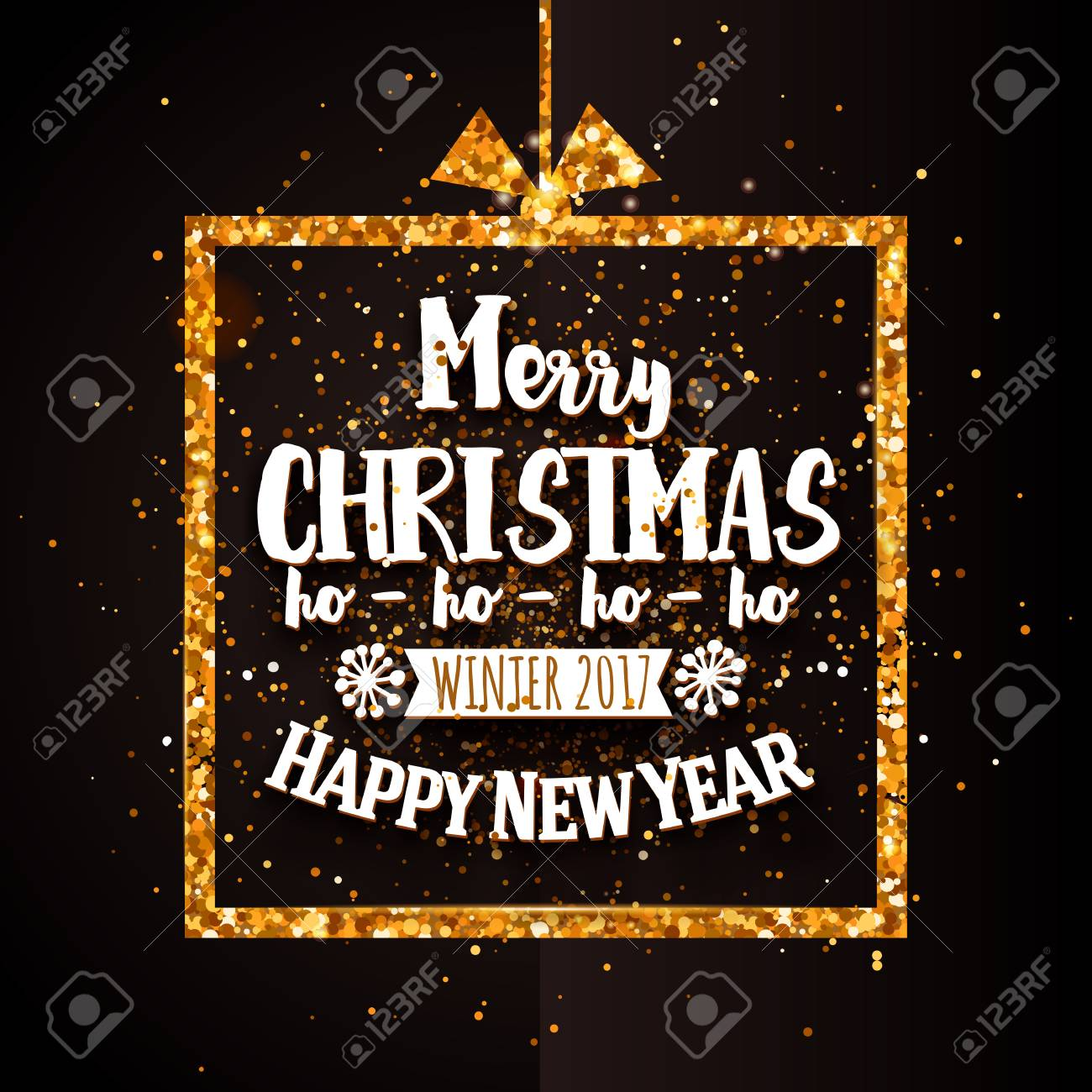 merry christmas and happy new year typography with gold glitter border holidays background with golden