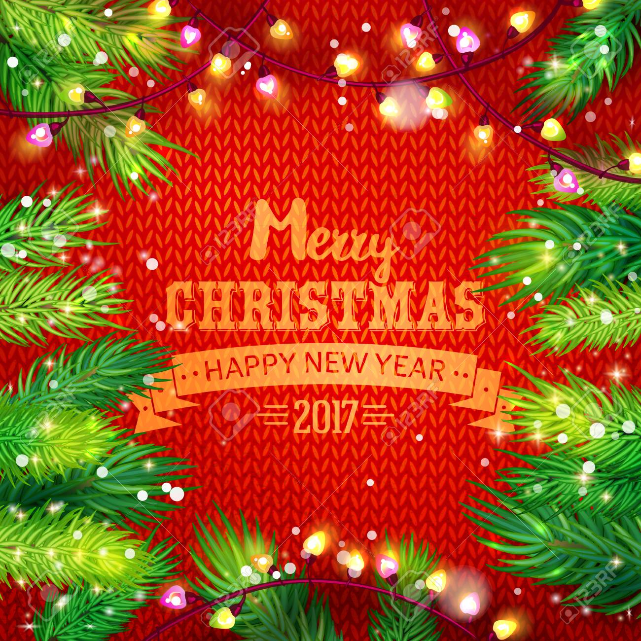 Wish You A Merry Christmas And Happy New Year Card With Fir And ...