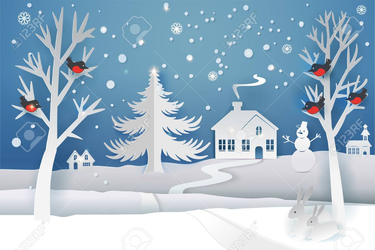 Paper Cut Winter Landscape Stock Photo Picture And Royalty Free Image Image 87780380
