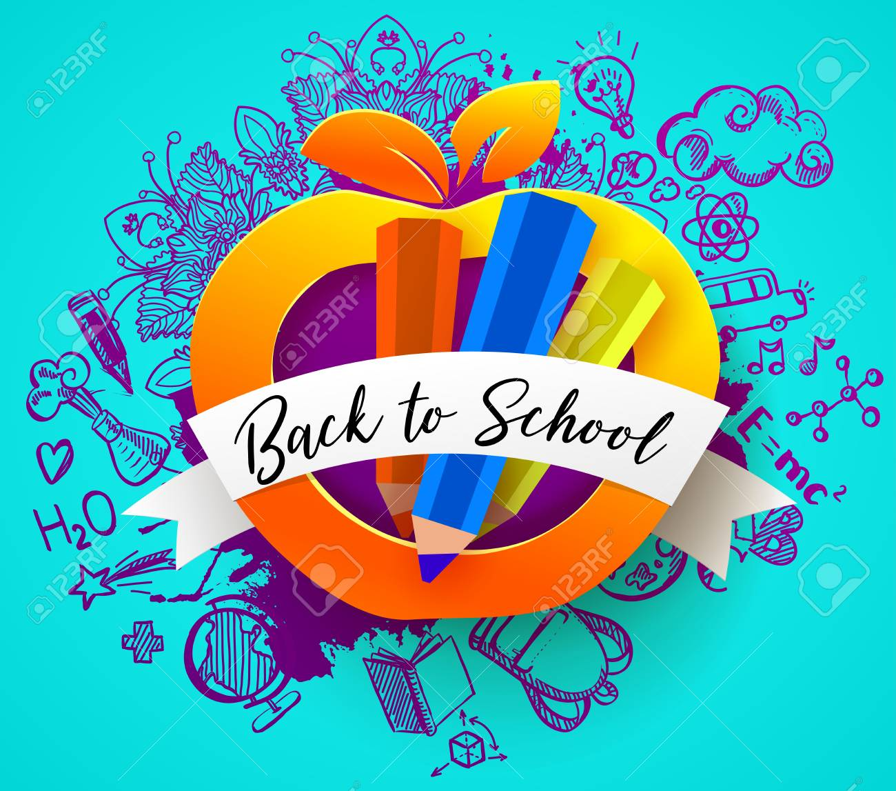 back to school horizontal banner with hand drawn education doodles