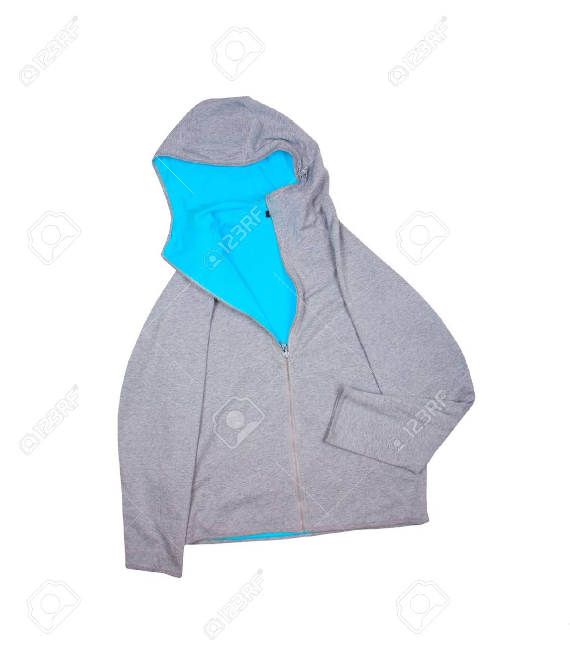 gray sweatshirt with hooded isolated on white background Stock Photo - 20145409