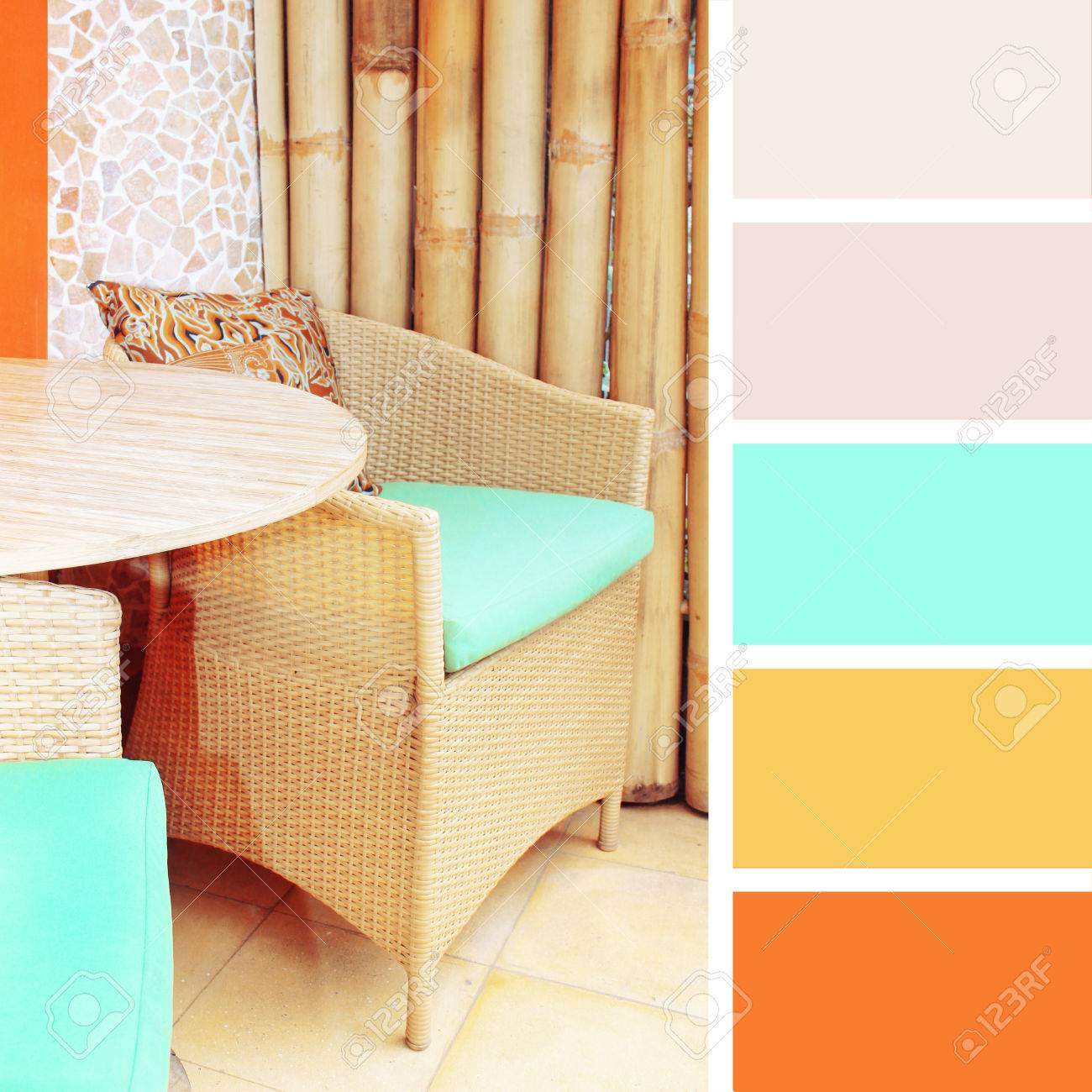 Tischdeko Im Cafe Farbpalette Muster Pastellfarben Lizenzfreie