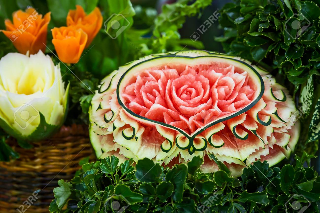 Watermelon carving roses carving from watermelon stock photo