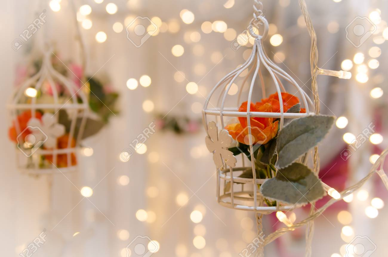 Flower Birdcage Wedding Decoration Stock Photo Picture And Royalty