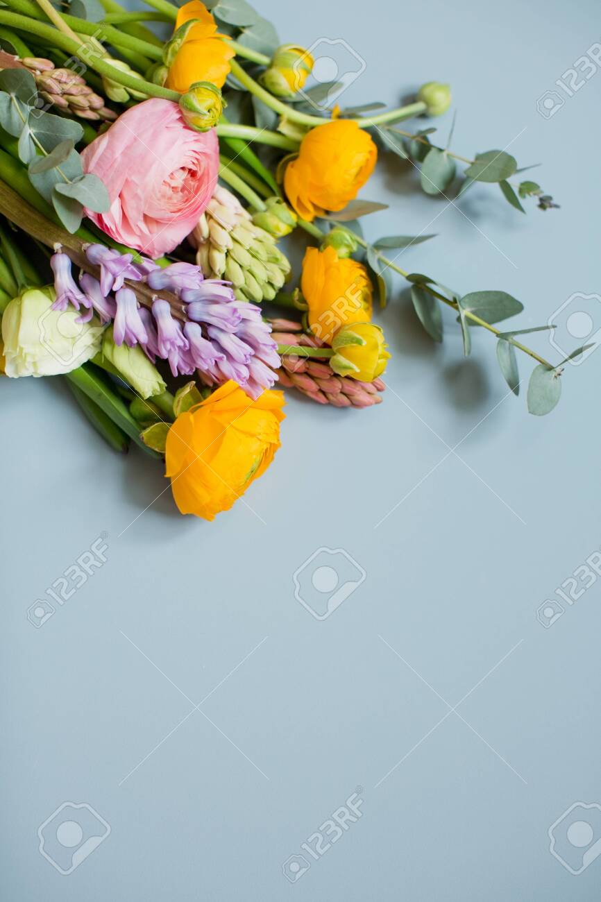 Beautiful Bouquet With Orange And Pink Ranunculus Flowers Eucalyptus Stock Photo Picture And Royalty Free Image Image 153189837