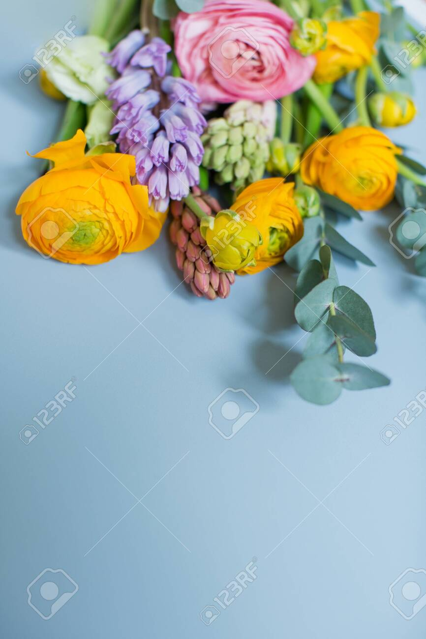 Beautiful Bouquet With Orange And Pink Ranunculus Flowers Eucalyptus Stock Photo Picture And Royalty Free Image Image 153441477