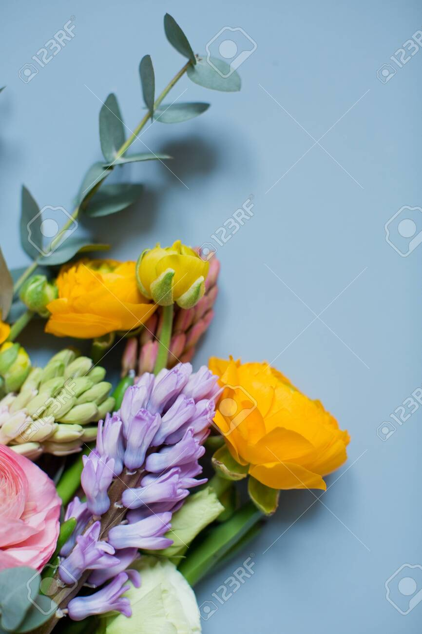 Beautiful Bouquet With Orange And Pink Ranunculus Flowers Eucalyptus Stock Photo Picture And Royalty Free Image Image 153441555