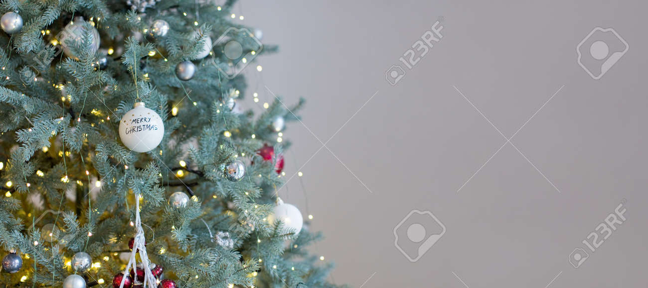 Banner With Christmas Tree With White And Silver Decorations Stock Photo Picture And Royalty Free Image Image 156950948