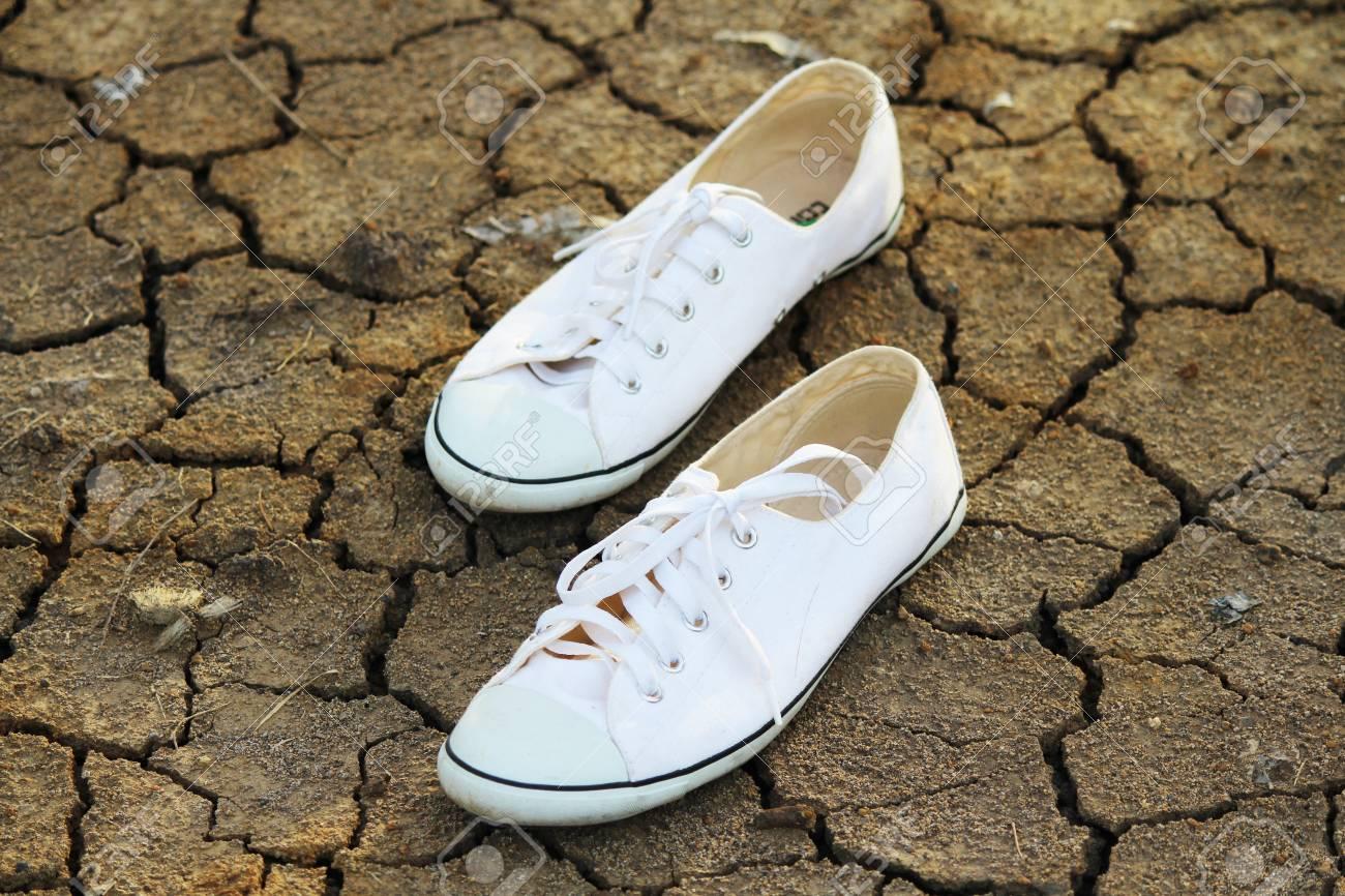 Toile Terrain Fond Chaussures Sur De Un Blanche 4jALR5
