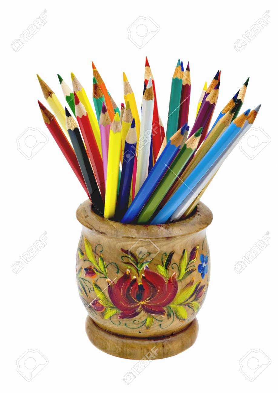 Pencils in bright wooden bank isolated on a white background Stock Photo - 4371645