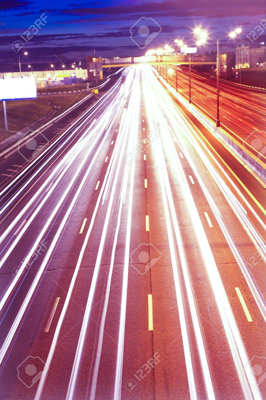 Fast movement of cars on night motorway Stock Photo - 15197502