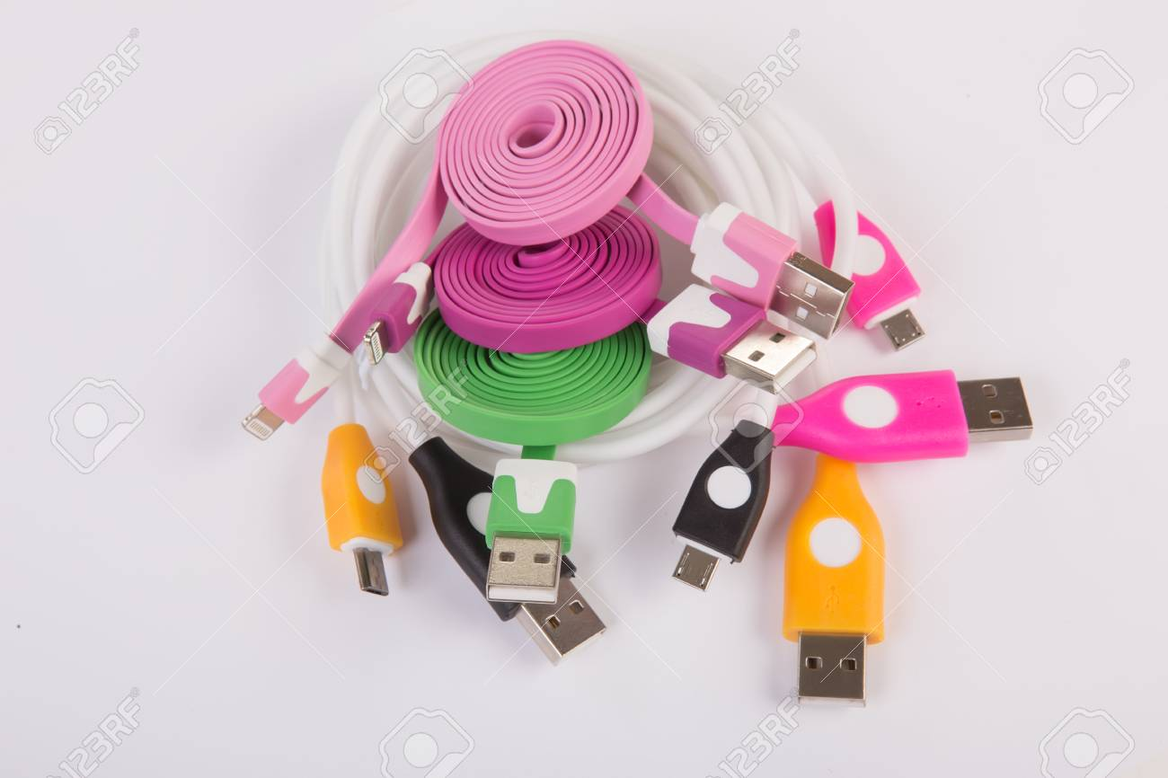 Color Wires With Plugs On White Background Stock Photo, Picture And ...