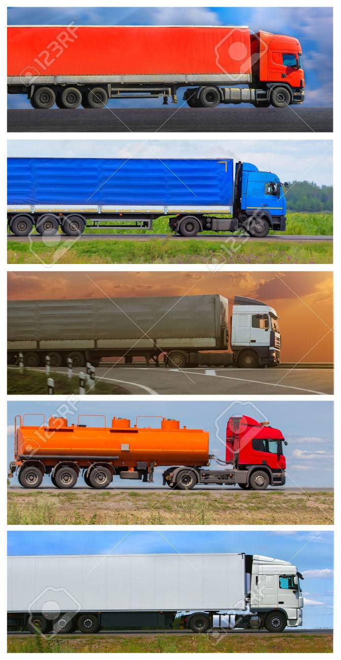 Collage trucks delivering freight going on highway - 53680689