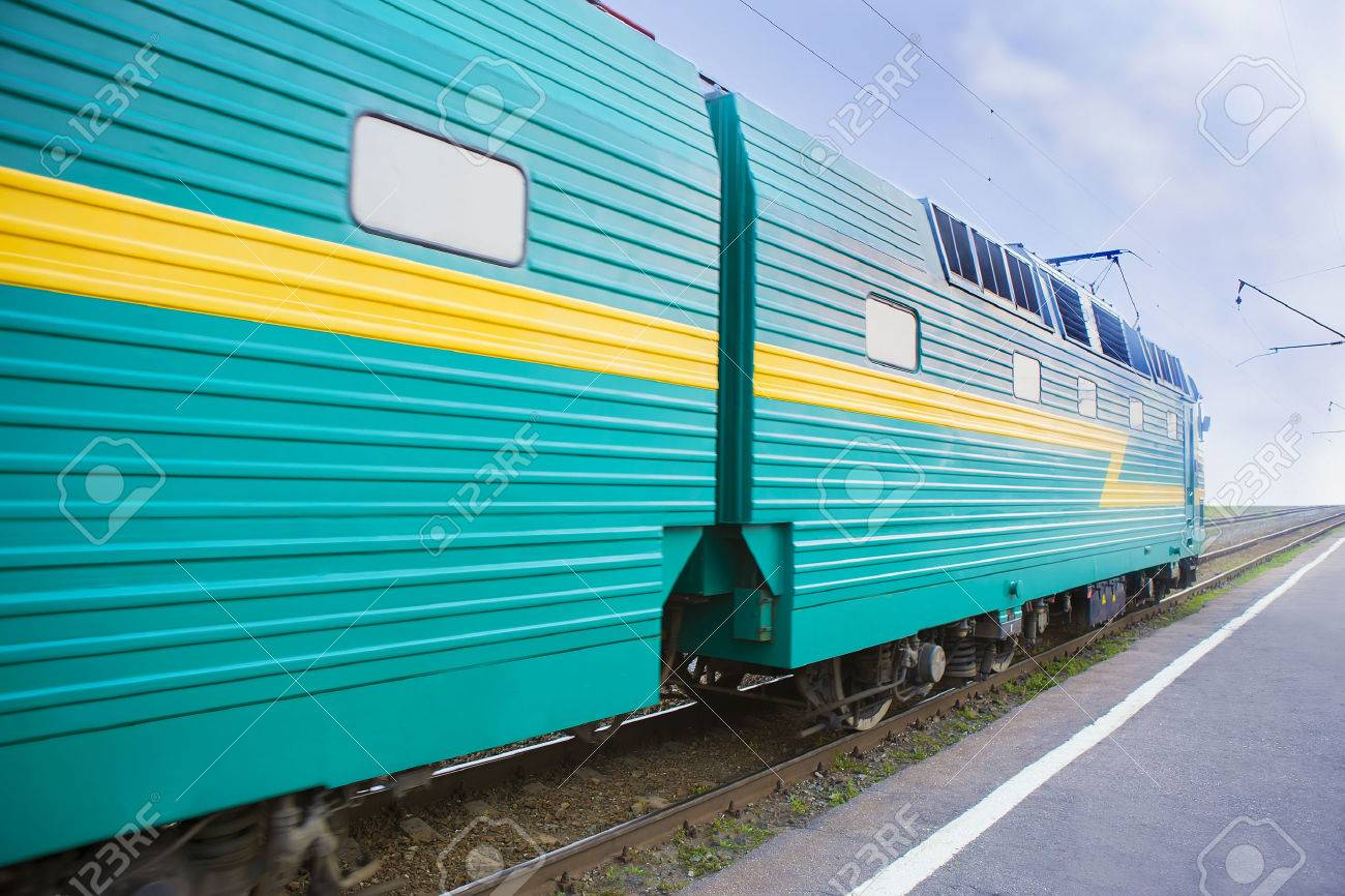 powerful locomotive moves by rail Stock Photo - 61629779