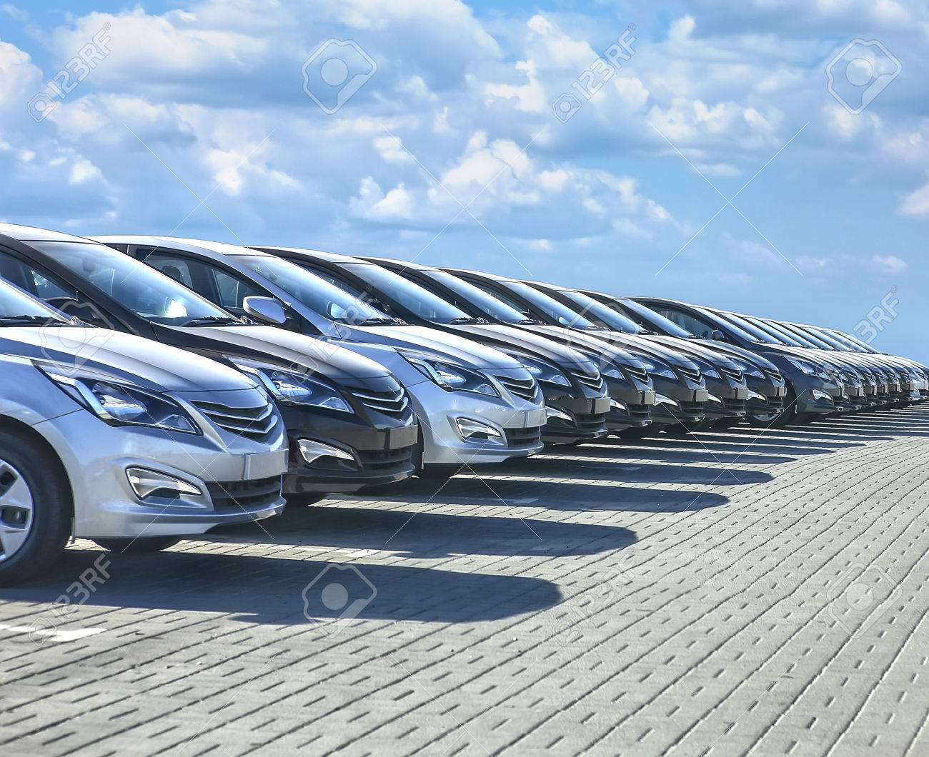 Cars For Sale Stock Lot Row. Car Dealer Inventory - 73560723