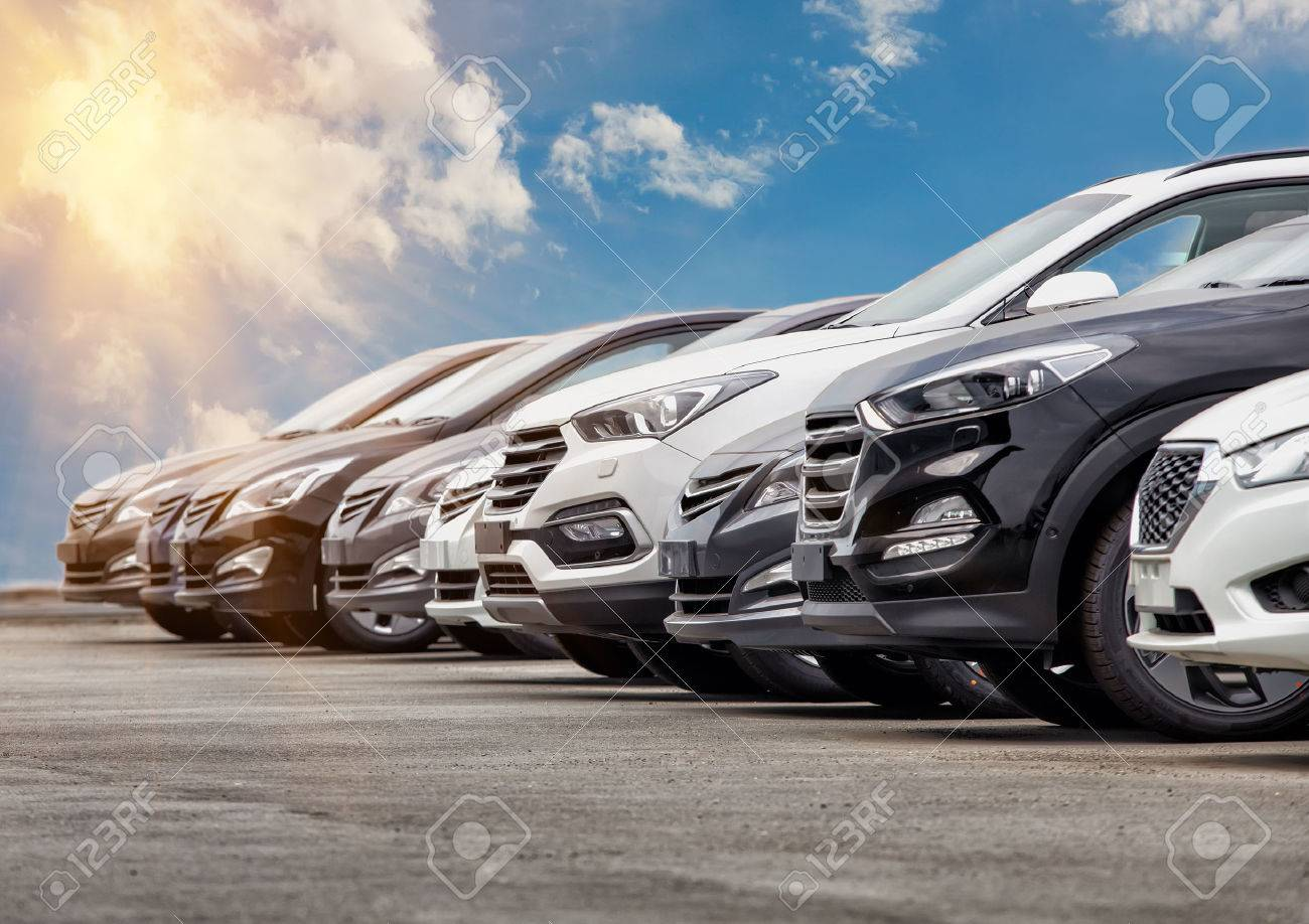 Cars For Sale Stock Lot Row Car Dealer Inventory Stock Photo