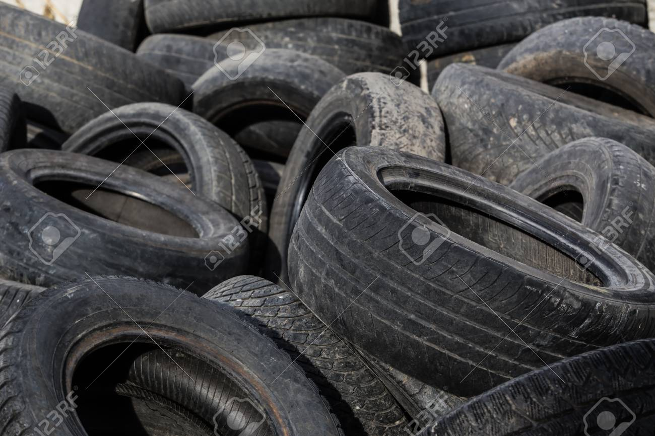 old tires used worn for recycling waste management industry disposal
