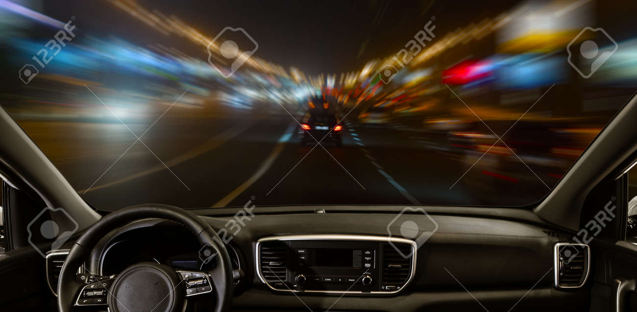 view from moving car on highway at night - 158541302
