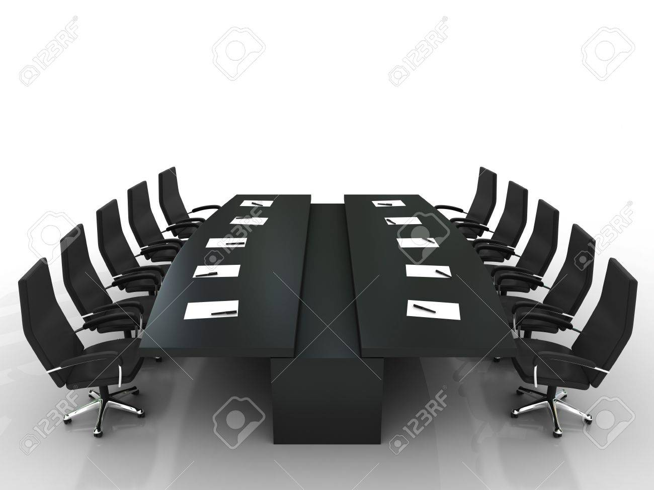 conference table and chairs with papers and pens isolated on white background Stock Photo - 7924746