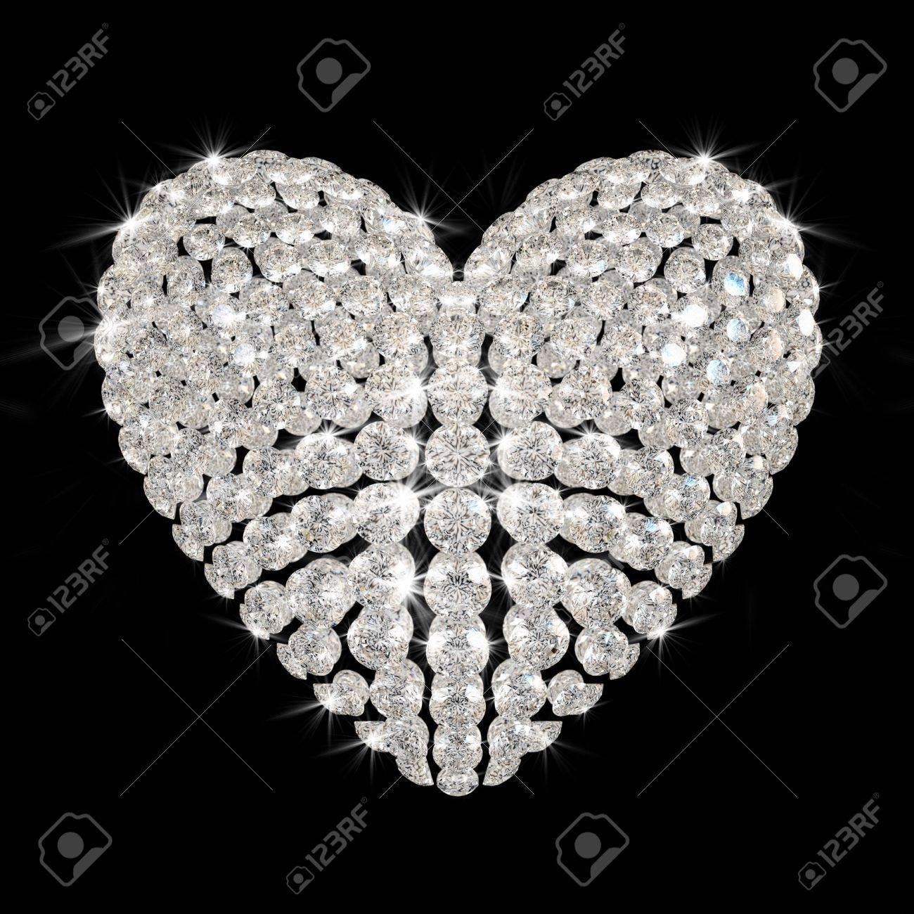 diamond's heart isolated on black background - 3d render. Stock Photo - 8528893