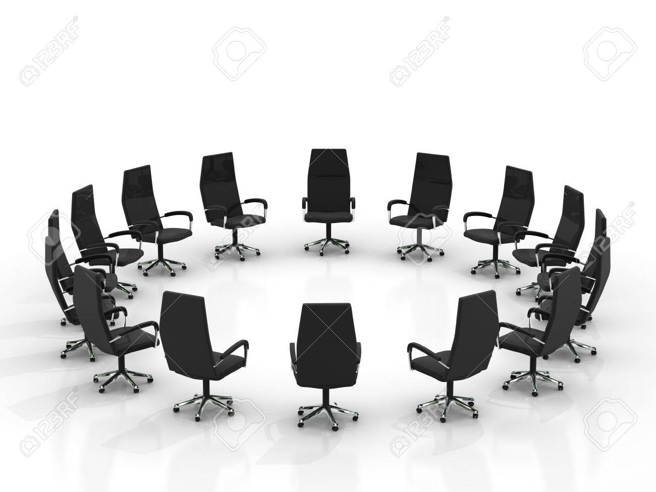 chairs arranging round large group isolated on white background Stock Photo - 8548164