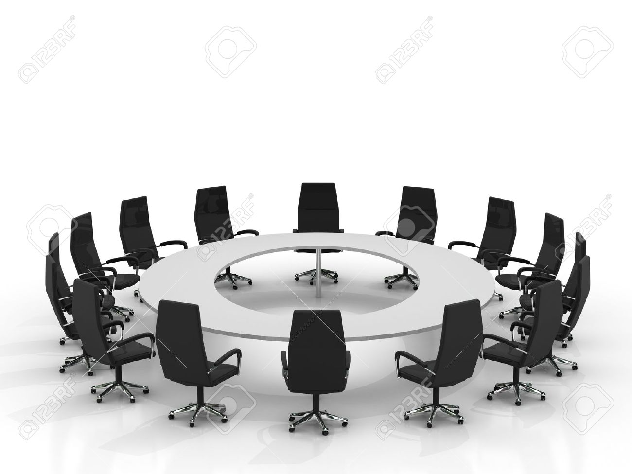Round table meeting icon - Round Table Meeting Conference Round Table And Chairs Isolated On White Background Stock Photo