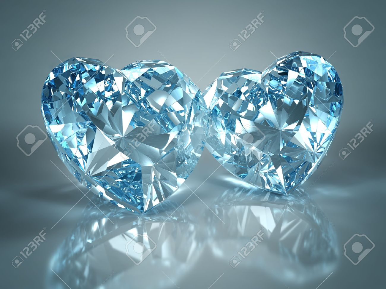 Diamonds jewel heart isolated on light blue background. Beautiful sparkling diamonds on a light reflective surface. High quality 3d render with HDRI lighting and ray traced textures. Stock Photo - 8612056