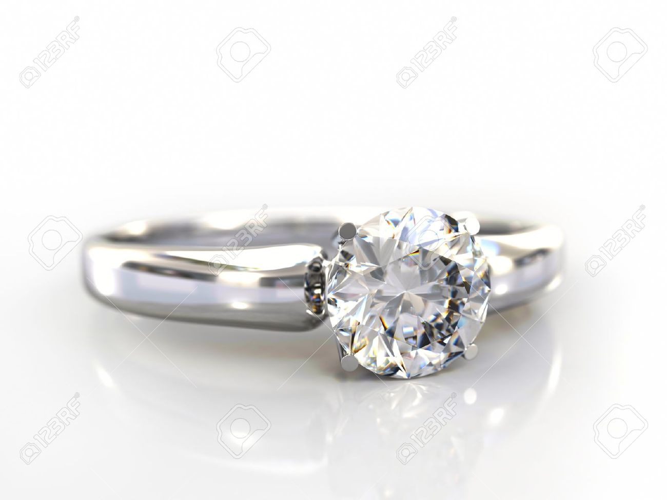 Diamond Ring Wedding Gift Isolated Close Up Of A White Gold Stock