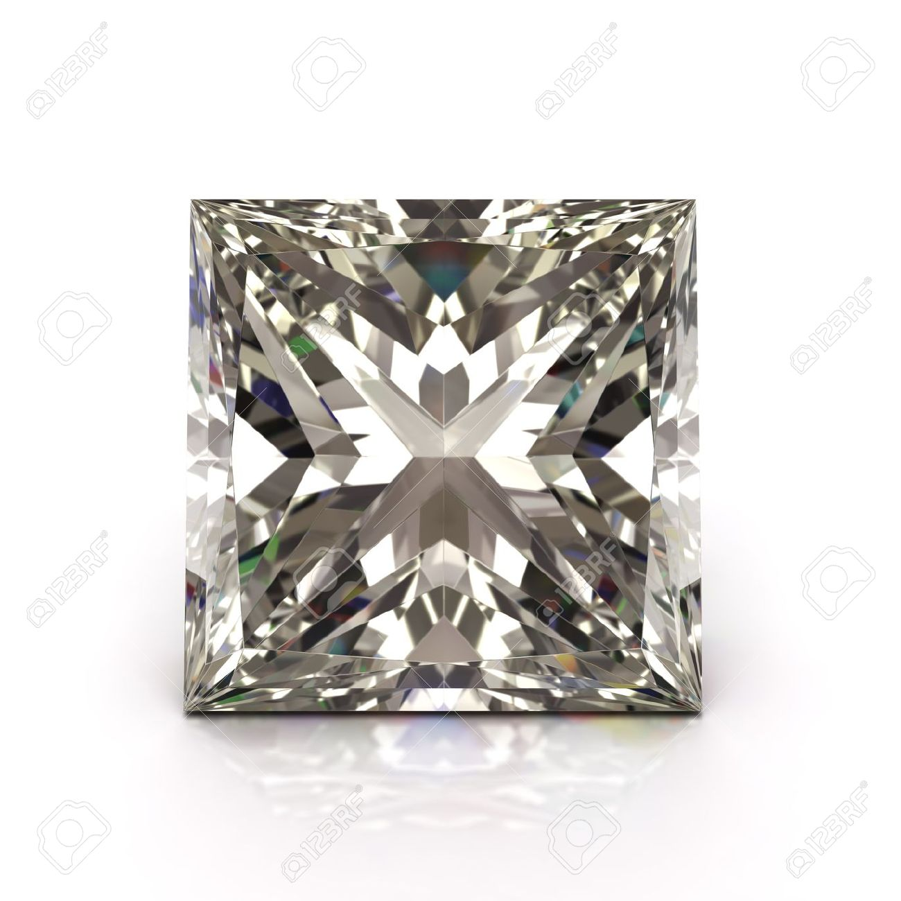 Princess cut diamond on white  Diamonds jewel   High quality 3d render with HDRI lighting and ray traced textures Stock Photo - 14829847