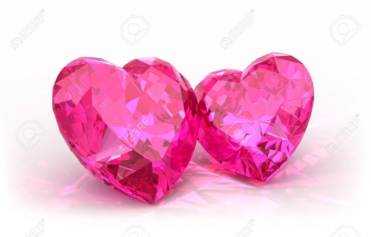 Diamond hearts  isolated on light background  Beautiful sparkling diamonds on a light reflective surface Stock Photo - 14829848