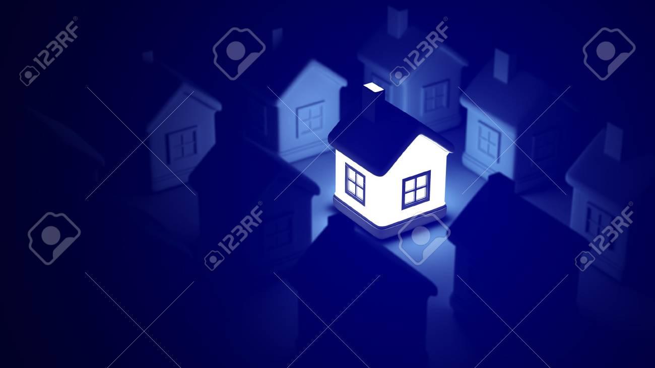 Nach Hause Auf Blauem Hintergrund, Ideenkonzept Glühend. Kann Für ...