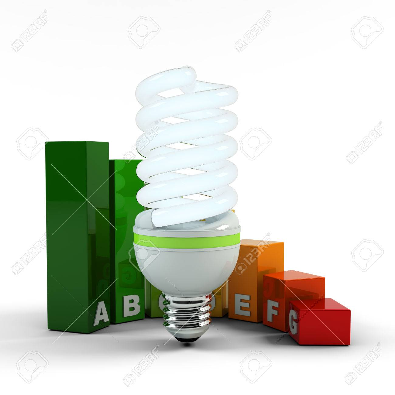 Compact Fluorescent Lamp, Ecological Metaphor. Ecology Environment And  Saving Energy, Fluorescent Light Bulb