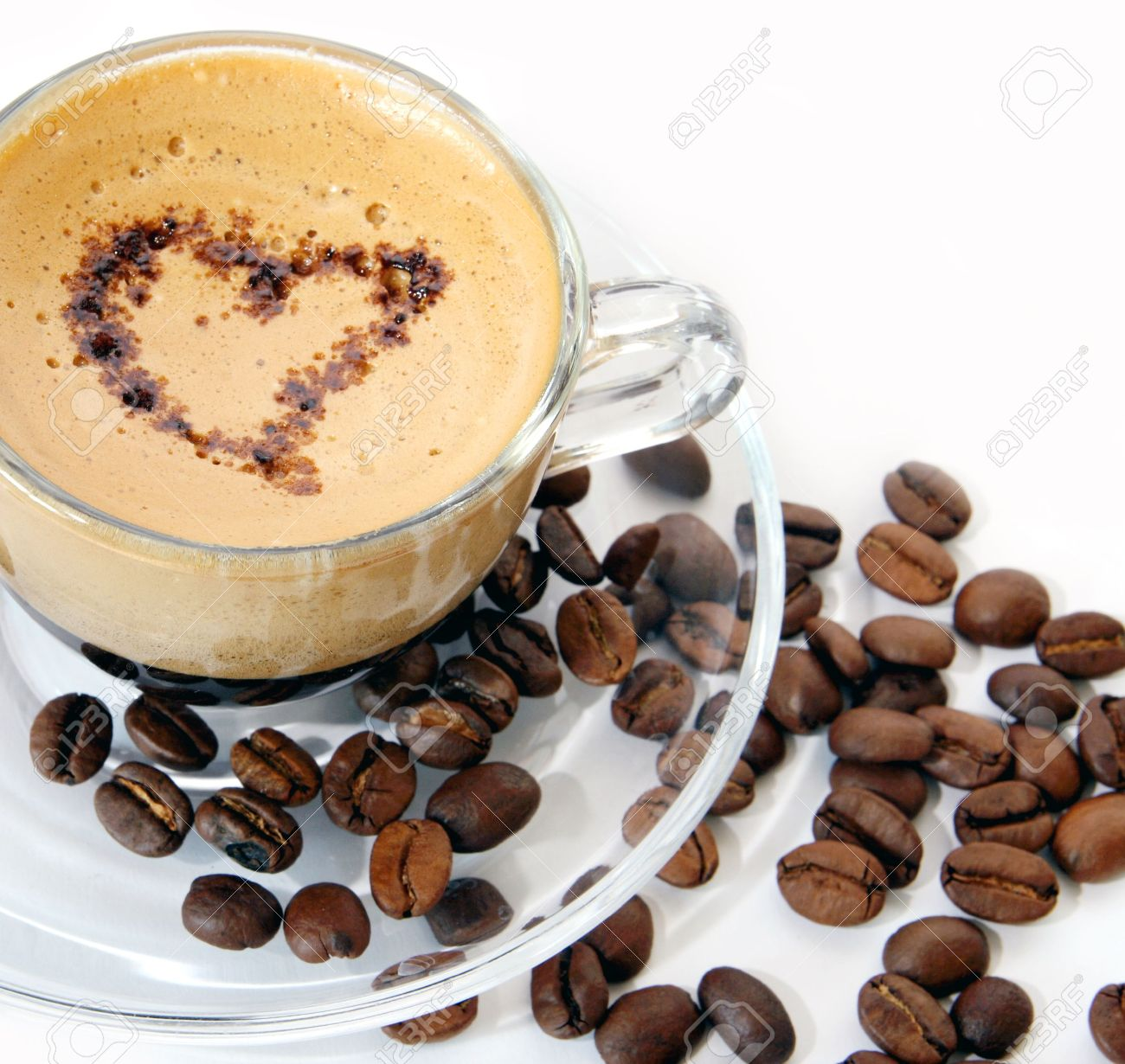 Coffee cup transparent - Coffee In A Transparent Mug On A White Background Stock Photo 5048032