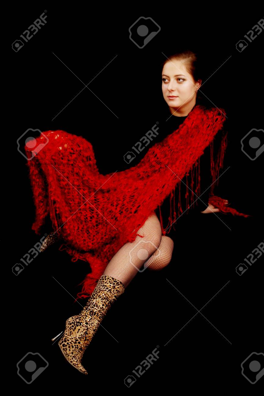 girl in red on a black background Stock Photo - 5144051