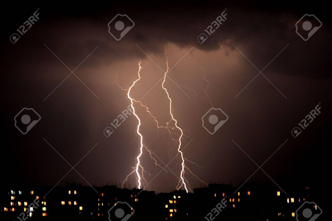 Lightning a thunderstorm, nightly cloudy sky Stock Photo - 5155446