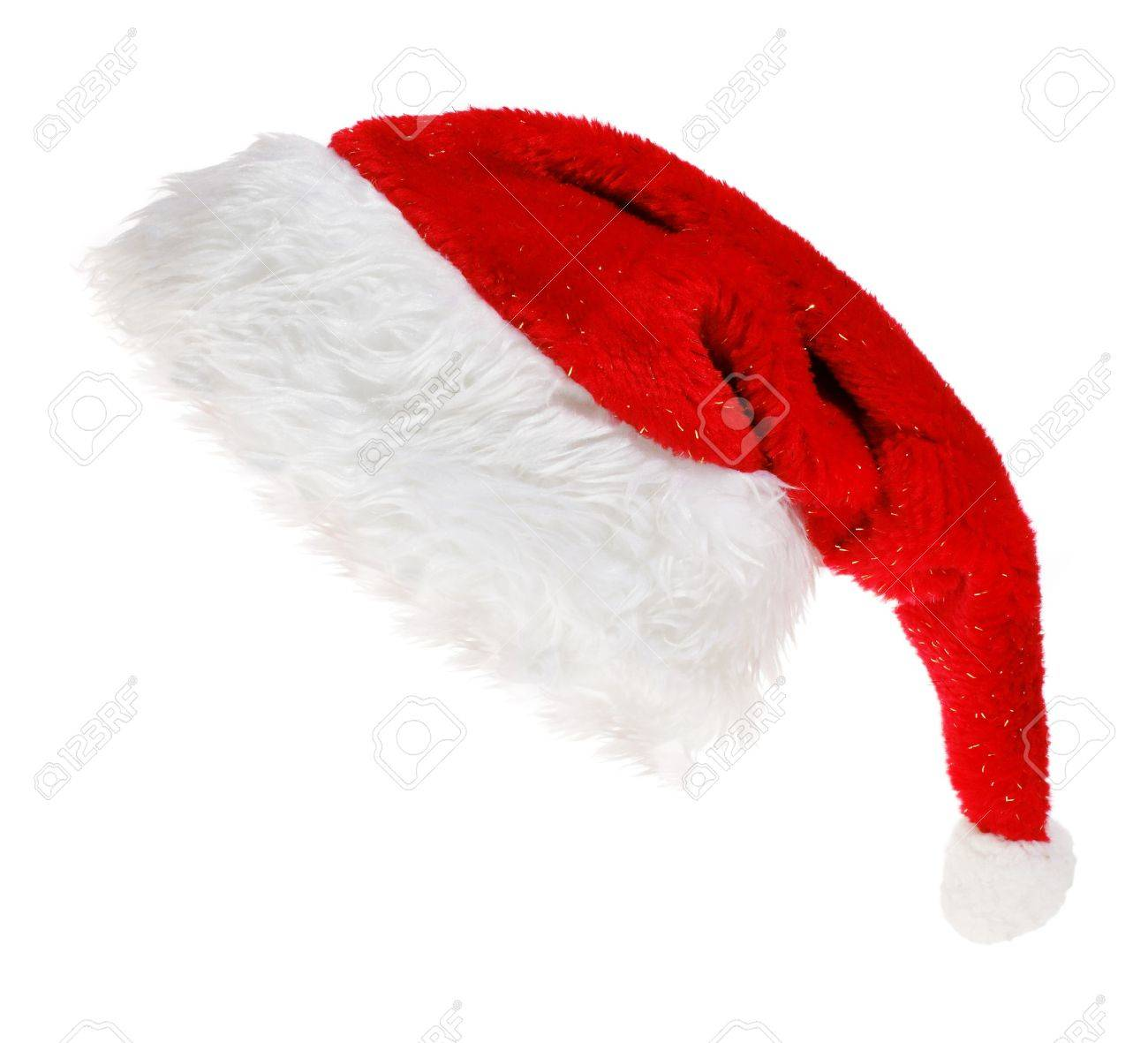 red Santa Claus hat on white background Stock Photo - 6856548
