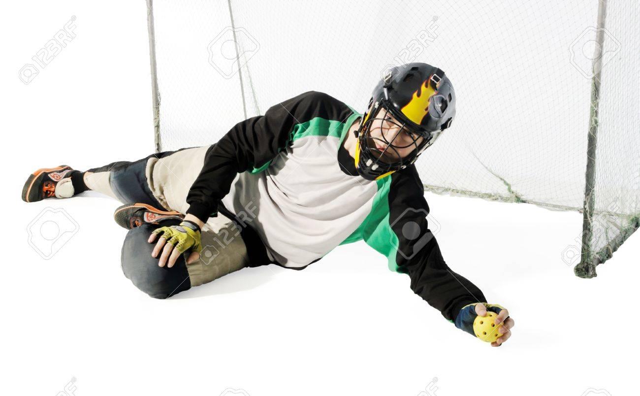 floorball goalkeeper on the white background Stock Photo - 7161140