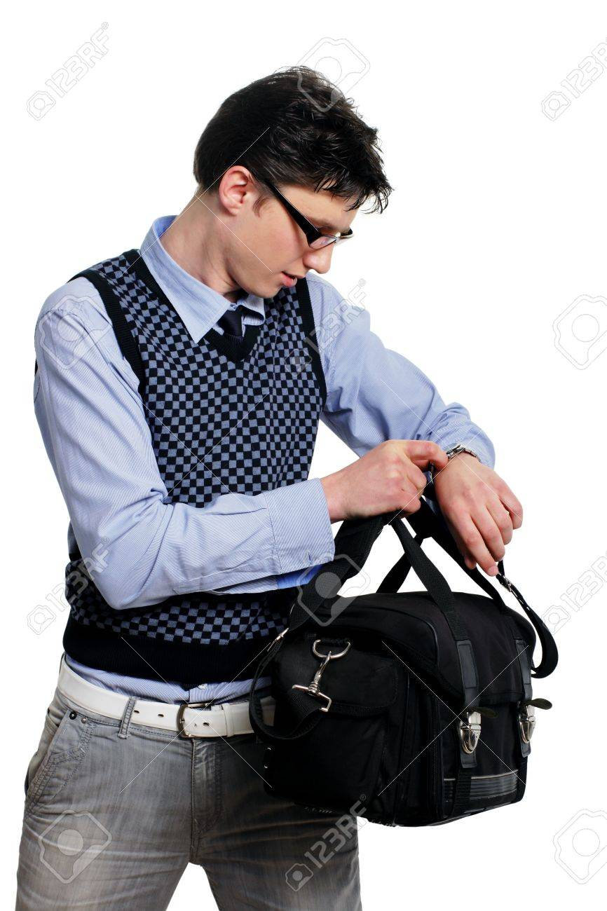Young Man With A Bag Of Looking At The Watch On The White ...