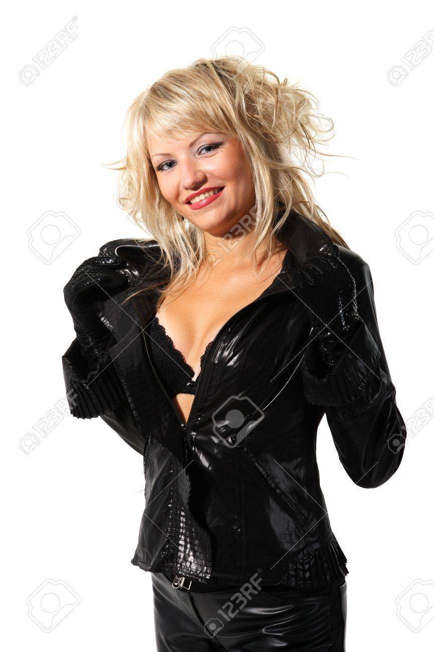 Young beautiful girl in a black jacket and bra on the white background Stock Photo - 7536401