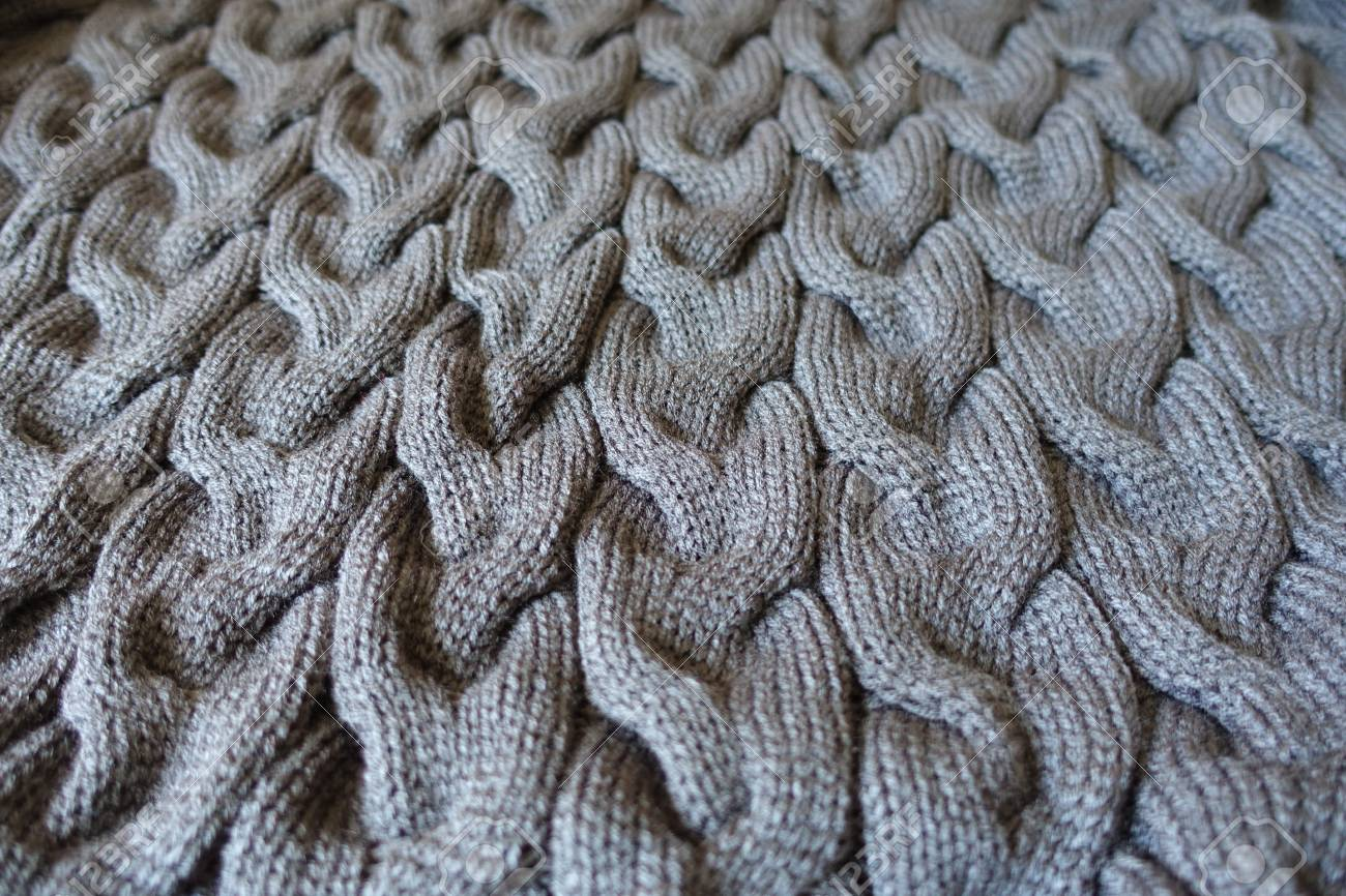 Dark Gray Knit Fabric With Braid Pattern Stock Photo, Picture And ...
