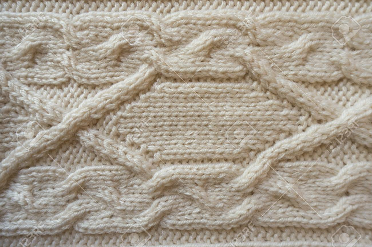 White Handmade Knitwork With Horizontal Braid Pattern From Above ...